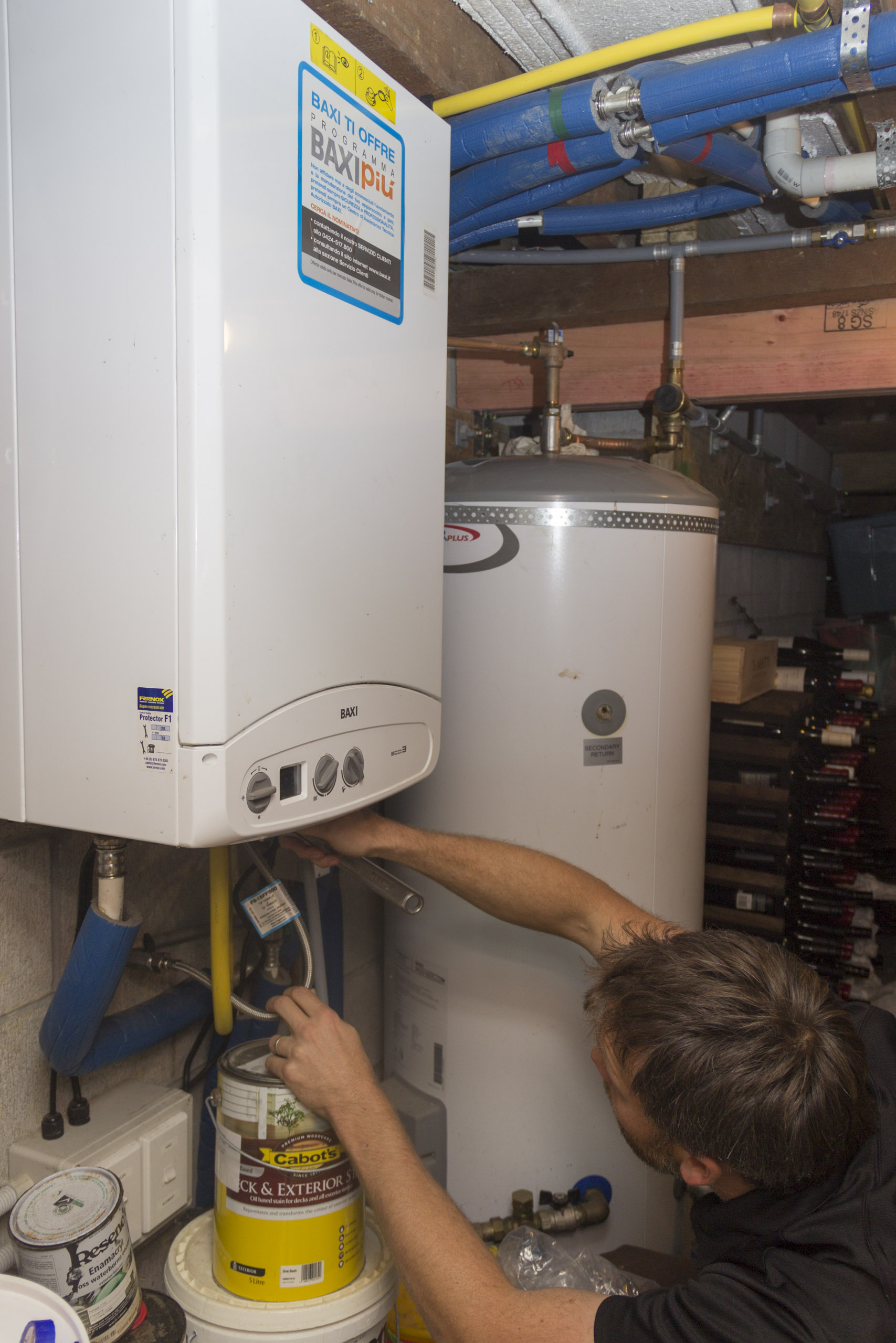 Servicing a central heating boiler