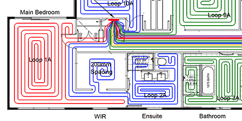 Undefloor central heating loopcad diagram